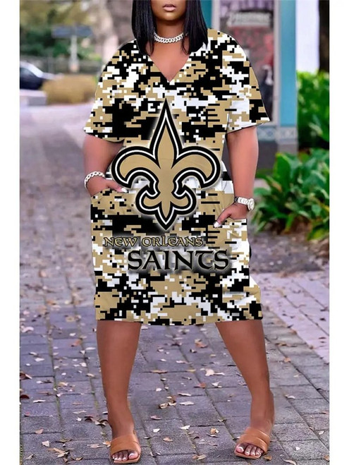 **(Official-NFL.New-Orleans-Saints-Team Limited Edition Trendy V-Neck Casual Womens Knee Length Game/Day Sporty Pocket Dress)**