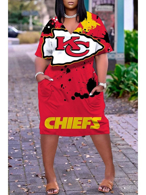 **(Official-NFL.Kansas-City-Chiefs-Team Limited Edition Trendy V-Neck Casual Womens Knee Length Game/Day Sporty Pocket Dress)**