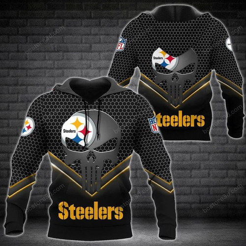 **(OFFICIAL-N.F.L.PITTBURGH-STEELERS-TEAM-PULLOVER-HOODIE/CUSTOMIZED-GRAPHIC-3D-PRINTED-CLASSIC-PUNISHER-SKULL-DESIGN)**