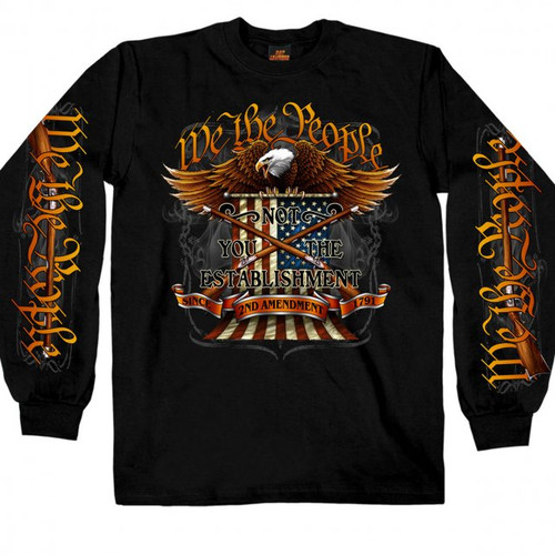(Our We The People design screen printed on the front of a 100% heavyweight cotton, long sleeve black shirt with a similar design on the sleeves.  Make a statement the next time you hit the road in this Hot Leathers exclusive!!!)