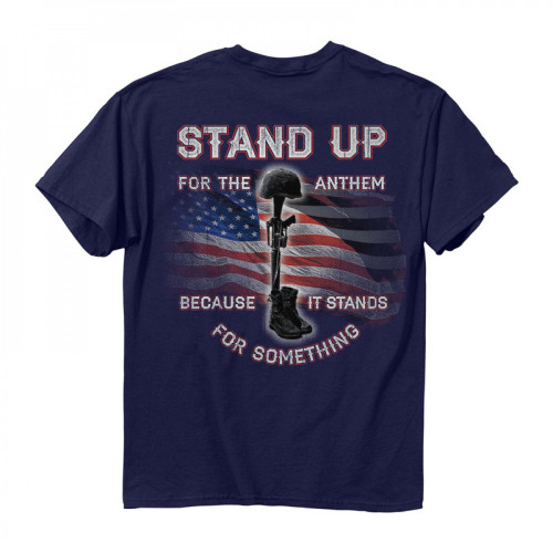 """(NEW-BUCK-WEAR,""""STAND-UP-FOR-THE-ANTHEM,WITH-RIFLE,BOOTS & FALLEN-SOLDIERS-HELMENT"""",NICE-GRAPHIC-PRINTED-PRINTED-PREMIUM-PATRIOT-DOUBLE-SIDED-TEES:)"""