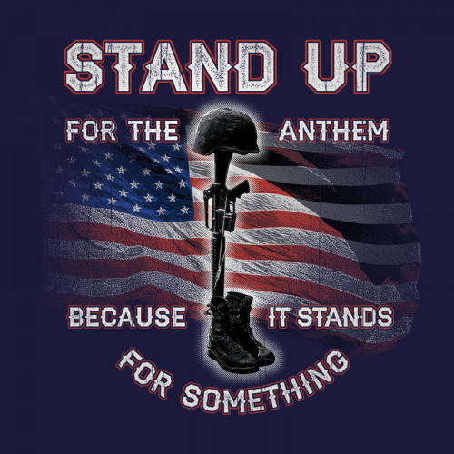 "(NEW-BUCK-WEAR,""STAND-UP-FOR-THE-ANTHEM,WITH-RIFLE,BOOTS & FALLEN-SOLDIERS-HELMENT"",NICE-GRAPHIC-PRINTED-PRINTED-PREMIUM-PATRIOT-DOUBLE-SIDED-TEES:)"
