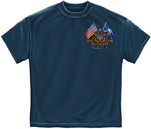 **(NEW-OFFICIALLY-LICENSED-U.S.NAVY,WITH-NAVY-SYMBOL & DOUBLE-ANCHORS/DOUBLE-FLAGS,NICE-GRAPHIC-PRINTED-PREMIUM,DOUBLE-SIDED-U.S.NAVY-TEES:)**