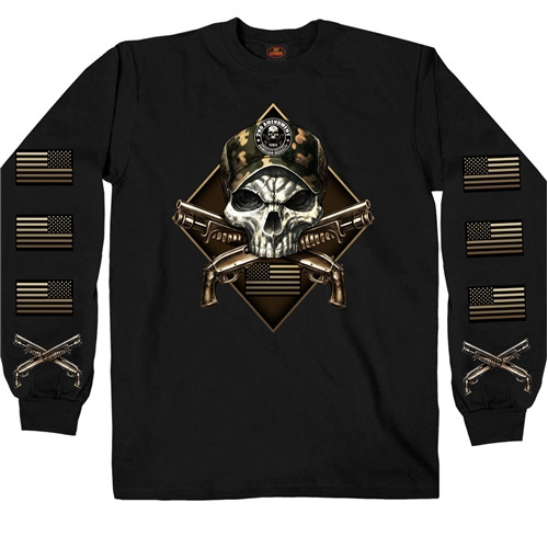 **(OFFICIALLY-LICENSED-2ND-AMENDMENT & CAMO.SKULL/CROSSED-PISTOLS & PATRIOTIC-FLAGS,NICE-GRAPHIC-PRINTED-PREMIUM-LONG-SLEEVE-TEES)**