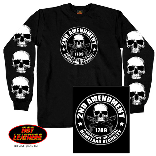 "(This Durable, 100% Heavyweight Preshrunk-Cotton, men's printed long sleeve t-shirt features a vibrant image of a skull and two crossed revolvers inside of a circle that reads ""2nd Amendment"", ""America's Original Homeland Security"" on the front and back. The sleeves of this shirt feature another screen printed design of three skulls on each sleeve, adding an extra element to this biker shirt. Show how important the ""Right to Bear Arms"" is to you in this exclusive Hot Leathers long sleeve printed t-shirt. Get yours today!!!)"