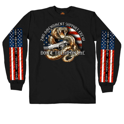 **(NEW-OFFICIALLY-LICENSED-2ND-AMENDMENT/SUPPORT-CREW,DON'T-TREAD-ON-ME & SNAKE/GREAT-FLAG-GRAPHICS-DOWN-SLEEVES,NICE-GRAPHIC-PRINTED-PREMIUM-LONG-SLEEVE-TEES)**
