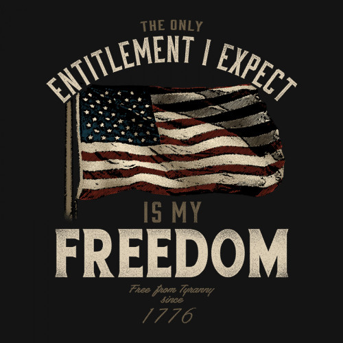 "(NEW-BUCK-WEAR,""THE-ONLY-ENTITLEMENT-I-EXPECT-IS-MY-FREDOM & FLAG"",NICE-GRAPHIC-PRINTED-PRINTED-PREMIUM-PATRIOT-DOUBLE-SIDED-TEES:)"