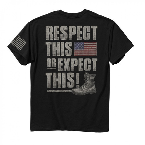 """Respect This or Expect This""    •4.3oz 100% combed ringspun cotton jersey •American Flag Print on Left Sleeve •Set-in rib collar with shoulder-to-shoulder taping •Double-needle sleeve and bottom hems •Preshrunk to minimize shrinkage •High Quality screen printed artwork that will withstand hundreds of washes"