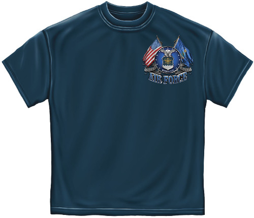 **(NEW-OFFICIALLY-LICENSED-AIR-FORCE,WITH-DOUBLE-FLAGS & EAGLE/SYMBOL,NICE-GRAPHIC-PRINTED-PREMIUM,DOUBLE-SIDED-TEES:)**