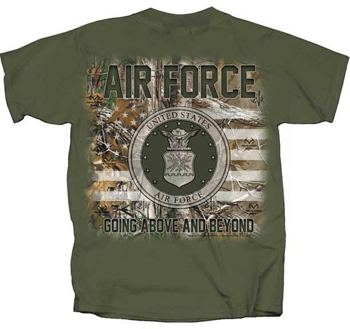 """**(OFFICIALLY-LICENSED,""""U.S.AIR-FORCE & GOING-ABOVE AND BEYOND"""",IN-REALTREE-CAMO-FLAG & AIR-FORCE-SYMBOL,NICE-GRAPHIC-PRINTED/PREMIUM-DOUBLE-SIDED-TEES:)**"""