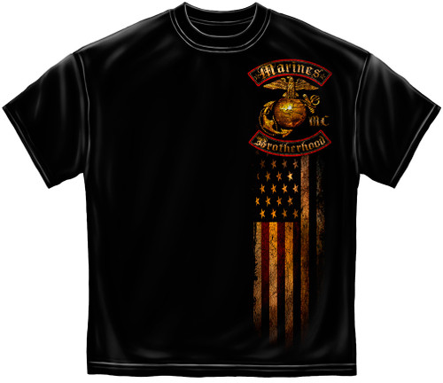 """**(NEW-OFFICIALLY-LICENSED,""""MARINES-BROTHER-HOOD & MARINE-GLOBE & ANCHOR,WITH-DOUBLE-FLAGS"""",NICE-DETAILED-CUSTOM-GOLD/FOIL-GRAPHIC-PRINTED-PREMIUM-DOUBLE-SIDED-GOLD/FOIL-MARINE-TEES:)**"""