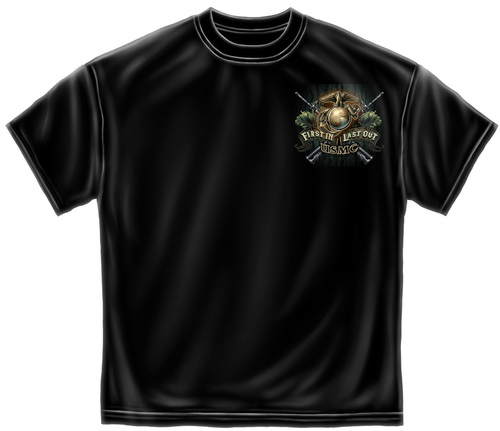 **(LICENSED-U.S.MARINES-CORPS,FIRST-IN & LAST-OUT,WITH-ARMED-MARINE-CORP-DRILLDOG/BULLDOG-MASCOT,NICE-DETAILED-GRAPHIC-PRINTED-PREMIUM-TEES:)**