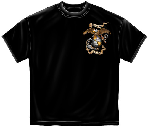 **(LICENSED-U.S.MARINES-CORPS,SEMPER-FIDELIS/WITH-MARINES-GLOBE & ANCHOR-EMBLEM/U.S.M.C,NICE-DETAILED-GRAPHIC-PRINTED-DOUBLE-SIDED/PREMIUM-MARINES-BLACK-TEES:)**