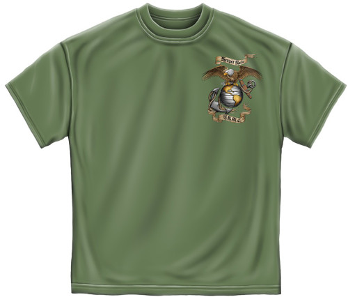 **(LICENSED-U.S.MARINES-CORPS,SEMPER-FIDELIS/WITH-MARINES-GLOBE & ANCHOR-EMBLEM/U.S.M.C,NICE-DETAILED-GRAPHIC-PRINTED-DOUBLE-SIDED/PREMIUM-MARINES-GREEN-TEES:)**