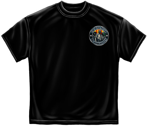 **(OFFICIALLY-LICENSED-MILITARY-VETERANS,VIETNAM-VET'S-WAR-MEMORIAL & BROTHERS-IN-ARMS/YOU-WILL-NEVER-BE-FORGOTTEN,NICE-DETAILED-CUSTOM-GRAPHIC-PRINTED/PREMIUM-DOUBLE-SIDED-TEES:)**