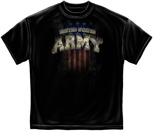 **(LICENSED-U.S.ARMY-CAMO./WITH-EAGLE-OVER-FLAG & ARMY-STAR,EST.1775/HONOR,LOYALITY & DUTY,NICE-DETAILED-CUSTOM-GRAPHIC-PRINTED/PREMIUM-DOUBLE-SIDED-LICENSED-ARMY-TEES:)**