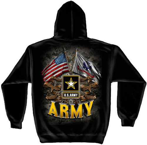 **(OFFICIALLY-LICENSED-U.S.ARMY/OFFICIAL-ARMY-STAR & DOUBLE-FLAGS,NICE-DETAILED-CUSTOM-GRAPHIC-PRINTED/PREMIUM-FLEECE-DOUBLE-SIDED-PULLOVER-ARMY-HOODIES:)**