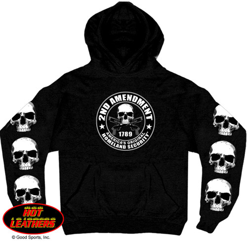 "(2nd Amendment Hooded Sweatshirt by Hot Leathers is a must have for the biker with their own personal style!  This 11oz. heavyweight pullover hooded sweatshirt contains a large front pocket and a screen printed design of a skull with crossed pistols with ""1789""  inside of the text ""2nd Amendment, America's Original Homeland Security"", with skulls going down both sleeves.  Wear this sweatshirt when you ride to complete your biker look and represent the biker lifestyle with pride...Get yours today!)"