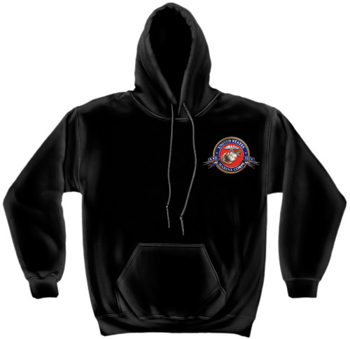 """**(NEW-OFFICIAL-LICENSED,""""U.S.M.C.HONOR,SERVICE & SACRIFICE,WITH-SEMPER-FIDELIS/EST.1775"""",NICE-DETAILED-CUSTOM-GRAPHIC-PRINTED/PREMIUM-WARM-FLEECE-DOUBLE-SIDED-PULLOVER-HOODIES:)**"""
