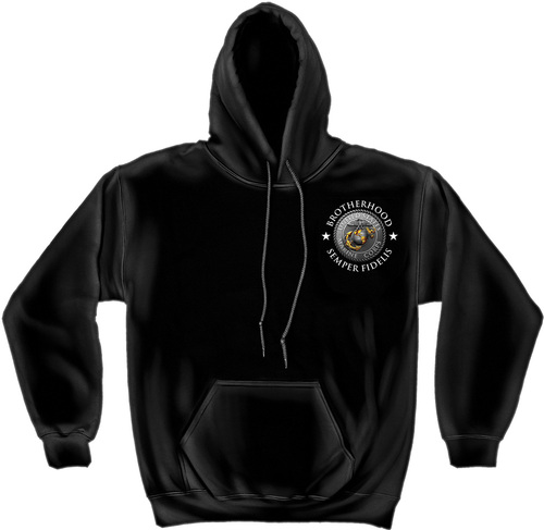 """**(OFFICIALLY-LICENSED MARINES """"ALL-MEN-ARE-CREATED-EQUAL & THEN-A-FEW-BECOME-BROTHERS""""/WITH-MARINES-GLOBE & ANCHOR SYMBOL,NICE-CUSTOM-DETAILED-GRAPHIC-PRINTED/PREMIUM-DOUBLE-SIDED-WARM-FLEECE-HOODIES:)**"""