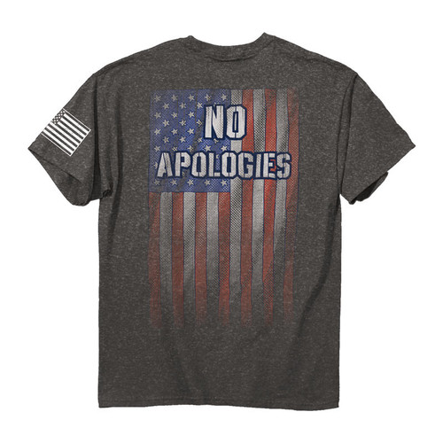 No Apologies  •6.3oz  100% combed ringspun cotton jersey •American Flag print on left sleeve •Set-in rib collar with shoulder-to-shoulder taping •Double-needle sleeve and bottom hems •Preshrunk to minimize shrinkage •High quality screen printed artwork that will withstand hundreds of washes