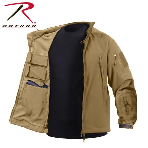 **(OFFICIALLY-LICENSED-ROTHCO/CONCEALED-WEAPON-CARRY,SOFT-SHELL-100%-WATERPROOF-JACKET/IN-COYOTE-BROWN,NICE-WARM-CUSTOM/PREMIUM-CONCEALED-GUN-JACKETS)**