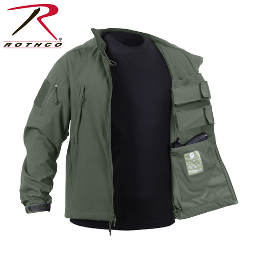 **(OFFICIALLY-LICENSED-ROTHCO/CONCEALED-WEAPON-CARRY,SOFT-SHELL-100%-WATERPROOF-JACKET/IN-DARK-OLIVE-GREEN,NICE-WARM-CUSTOM/PREMIUM-CONCEALED-GUN-JACKETS)**