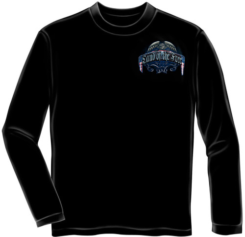"**(NEW-OFFCIALLY-LICENSED,""LAND-OF-THE-FREE-BECAUSE-OF-OUR-BRAVE & VETERANS-WAR-MEMORIAL-WALL,NICE-DETAILED-CUSTOM-GRAPHIC-PRINTED/PREMIUM-DOUBLE-SIDED-LONG-SLEEVE-TEES:)**"
