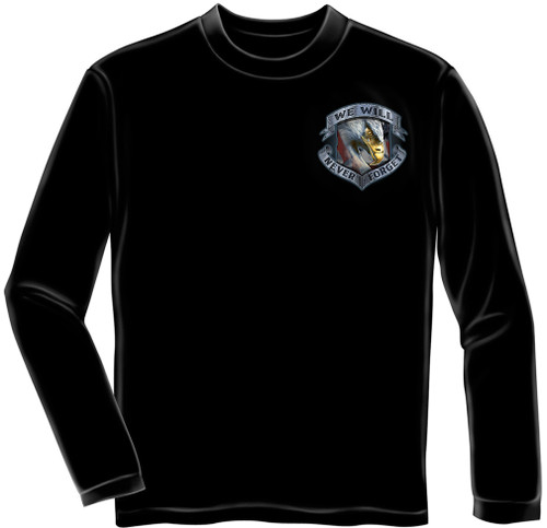 """**(OFFICIALLY-LICENSED-U.S.VETERANS,""""NEVER-FORGET-THAT-FREEDOM-IS-NEVER-FREE & KNEELING-SOLDIER-IN-HONORING-TRIBUTE"""",NICE-DETAILED-CUSTOM-GRAPHIC-PRINTED/PREMIUM-DOUBLE-SIDED-LONG-SLEEVE-TEES:)**"""