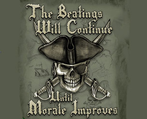 "(NEW-LICENSED,""THE-BEATINGS-WILL-CONTINUE-UNTIL-MORALE-IMPROVES"",NICE-GRAPHIC-PRINTED-PREMIUM-DOUBLE-SIDED-TAN-COLOR-TEES:)"