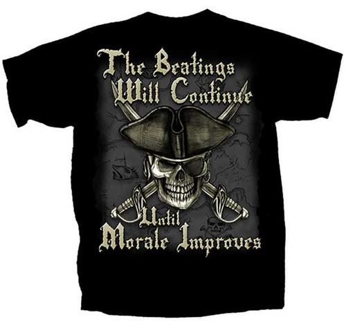 """(NEW-LICENSED,""""THE-BEATINGS-WILL-CONTINUE-UNTIL-MORALE-IMPROVES"""",NICE-GRAPHIC-PRINTED-PREMIUM-DOUBLE-SIDED-HUMOR-TEES:)"""