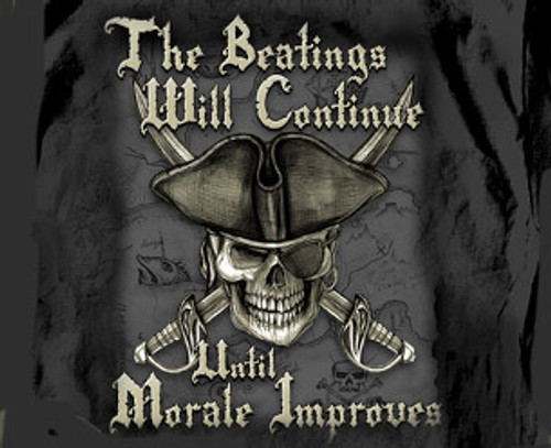 "(NEW-LICENSED,""THE-BEATINGS-WILL-CONTINUE-UNTIL-MORALE-IMPROVES"",NICE-GRAPHIC-PRINTED-PREMIUM-DOUBLE-SIDED-HUMOR-TEES:)"