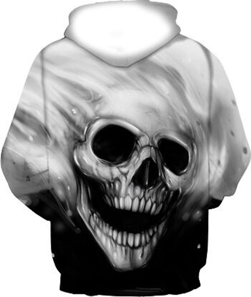 **(TRENDY-MENS & WOMENS/3-D>CUSTOM-DETAILED-GRAPHIC-PRINTED-MELTING-SKULL/PREMIUM-DOUBLE-SIDED-PRINTED,DEEP-POCKETED-PULLOVER-HOODIES)**