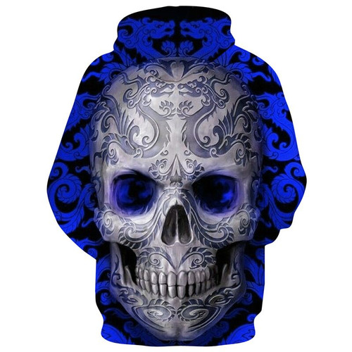 **(TRENDY-MENS & WOMENS,BEAUTIFUL-ALL-OVER-DESIGN/3-D>CUSTOM-DETAILED-GRAPHIC-PRINTED/DEEP-BLUE & WHITE-AZTEC-DRAGON-SKULL/PREMIUM-DOUBLE-SIDED-PRINTED,DEEP-POCKETED-PULLOVER-HOODIES)**