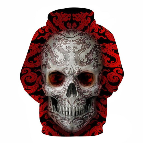 **(TRENDY-MENS & WOMENS,BEAUTIFUL-ALL-OVER-DESIGN/3-D>CUSTOM-DETAILED-GRAPHIC-PRINTED/DEEP-RED & WHITE-AZTEC-DRAGON-SKULL/PREMIUM-DOUBLE-SIDED-PRINTED,DEEP-POCKETED-PULLOVER-HOODIES)**
