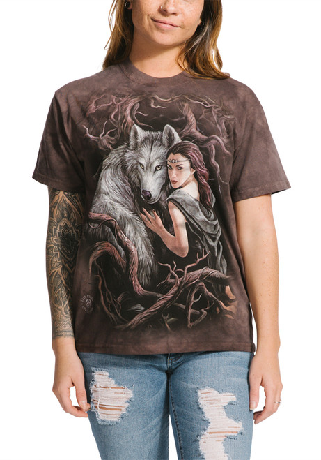 **(THE-MOUNTAIN-OFFICIAL-TEES,NEW-SPIRIT-WOLF-SOUL/BONDING-WITH-INDIAN-MAIDEN,NICE-DETAILED-CUSTOM-PREMIUM/GRAPHIC-SCREEN-PRINTED-TEES)**