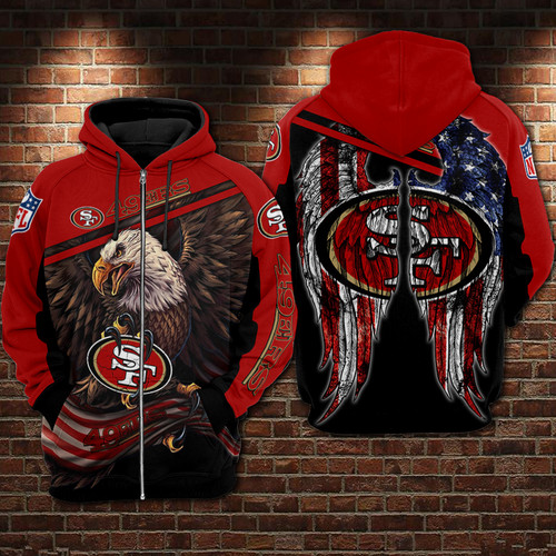 **(OFFICIAL-N.F.L.SAN-FRANCISCO-49ERS-TEAM-ZIPPERED-HOODIES & PATRIOTIC-FLAGGED-EAGLE/CUSTOM-3D-NEON-GRAPHIC-PRINTED-DOUBLE-SIDED-ALL-OVER-OFFICIAL-49ERS-LOGOS & IN-49ERS-TEAM-COLORS/WARM-PREMIUM-OFFICIAL-N.F.L.49ERS-TRENDY-TEAM-ZIPPERED-HOODIES)**