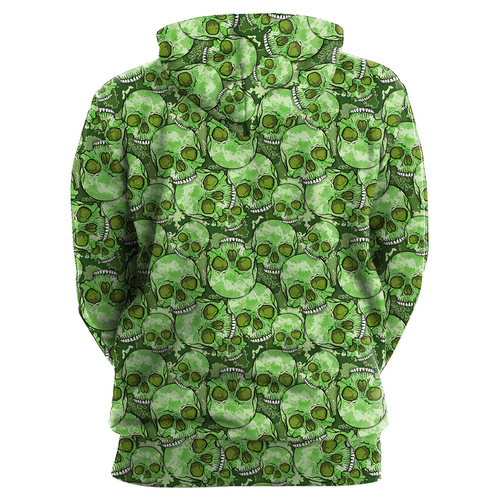 **(TRENDY-NEW-MENS & WOMENS/3-D>CUSTOM-DETAILED-GRAPHIC-PRINTED/STUNNING-ONE-EYED-DEEP-GREEN-SKULL-FACE/PREMIUM-DOUBLE-SIDED-PRINTED-PULLOVER-POCKETED-HOODIES)**