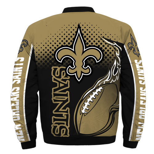 **(OFFICIAL-NEW-N.F.L.NEW-ORLEANS-SAINTS-JACKETS/IN-OFFICIAL-SAINTS-TEAM-COLORS & OFFICIAL-CLASSIC-SAINTS-LOGOS-BOMBER/FLIGHT-JACKET & NICE-CUSTOM-3D-GRAPHIC-PRINTED-DOUBLE-SIDED-ALL-OVER-DESIGN/WARM-PREMIUM-N.F.L.SAINTS-TEAM-JACKETS)**