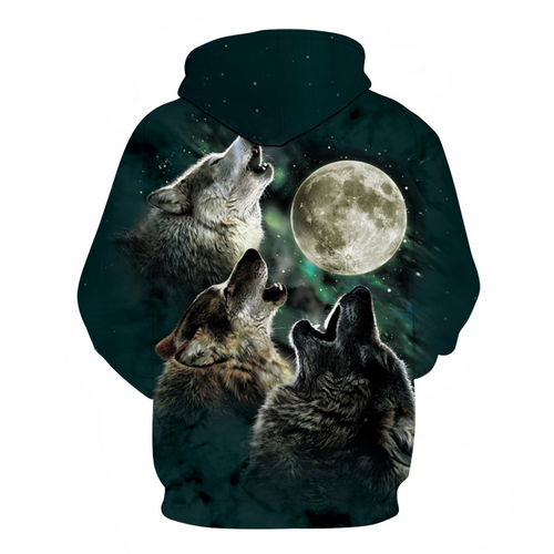 **(NEW-MENS & WOMENS/3-D>CUSTOM-DETAILED-GRAPHIC-PRINTED,BEAUTIFUL-THREE-WOLF-MOON-HOWLING/PREMIUM-DOUBLE-SIDED-PRINTED-PULLOVER-POCKETED-HOODIES)**