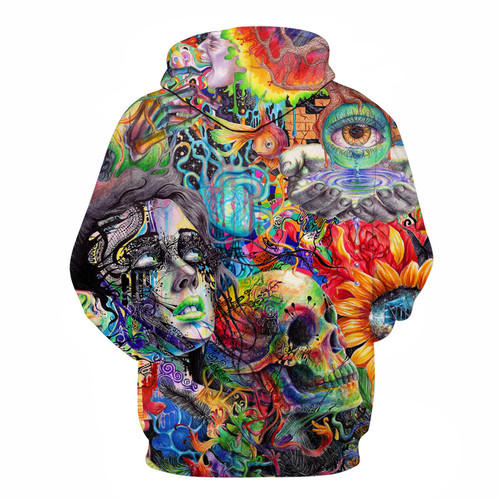 **(NEW-MENS & WOMENS/WILD-3-D>CUSTOM-DETAILED-GRAPHIC-PRINTED,BEAUTIFULLY-STUNNING-PAINTED-SKULL & ABSTRACT-3-D-ART/PREMIUM-DOUBLE-SIDED-PRINTED-PULLOVER-POCKETED-HOODIES)**