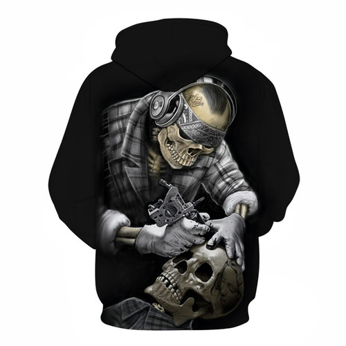 **(NEW-MENS & WOMENS/WILD-3D>CUSTOM-DETAILED-GRAPHIC-PRINTED,BEAUTIFULLY-STUNNING-TATTOOED-SKULL-ARTIST-AT-WORK/PREMIUM-DOUBLE-SIDED-PRINTED-PULLOVER-POCKETED-HOODIES)**