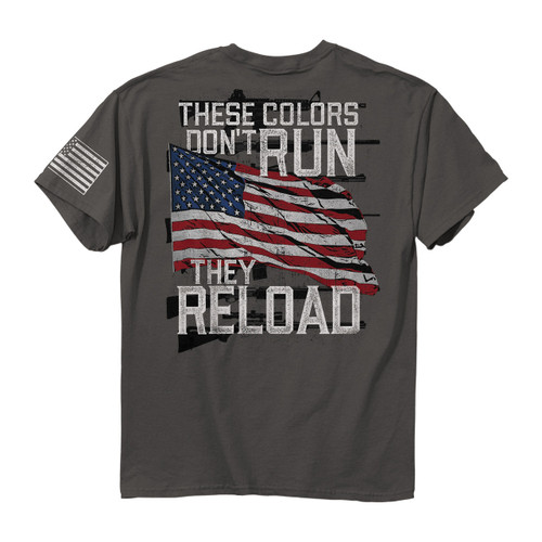 """**(OFFICIAL-BUCKWEAR-TEES,""""THESE-COLORS-DON'T-RUN/THEY-RELOAD"""",OVER-WAVING-PATRIOTIC-FLAG,NICE-CUSTOM-GRAPHIC-PRINTED/PREMIUM-DOUBLE-SIDED-PRINTED-TEES)**"""
