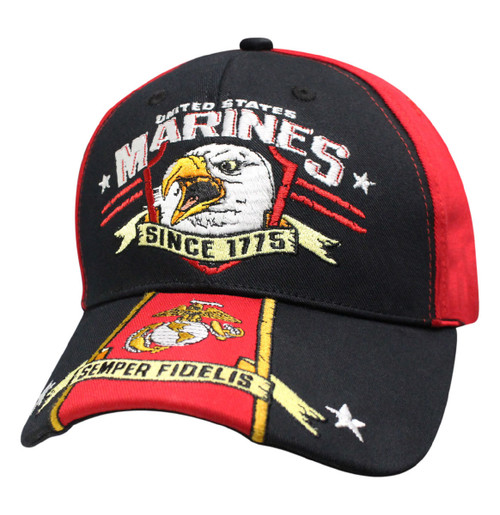 **(NEW-OFFICIALLY-LICENSED-U.S.MARINES-1775/MARINES-GLOBE & ANCHOR/SEMPER-FIDELIS,NICE-DETAILED-CUSTOM-GRAPHIC-EMBRIODERED-BLACK & RED-COLORED-HATS)**