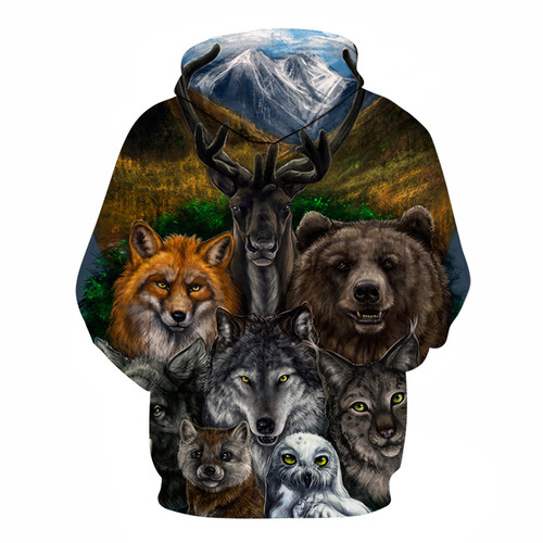 **(TRENDY-NEW-MENS & WOMENS/3-D>CUSTOM-DETAILED-GRAPHIC-PRINTED-HOODIES/HUNTERS-DREAM & NATURES-ASSORTED-AMERICAN-WILDLIFE/PREMIUM-DOUBLE-SIDED-PRINTED-PULLOVER-POCKETED-3D-ZIPPER-FRONT-HOODIES)**