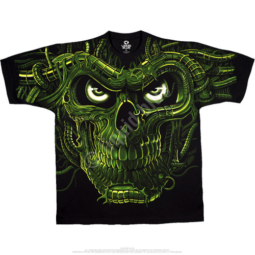 **(OFFICIAL-LIQUID-BLUE-BRAND-FANTASY-TEES,BIG-NEON-GREEN-MONSTER-SKULL/BOTH-SIDES-GLOWS-IN-THE-DARK,NICE-CUSTOM-DETAILED-GRAPHIC-PRINTED/PREMIUM-DOUBLE-SIDED-GRAPHIC-TEES)**