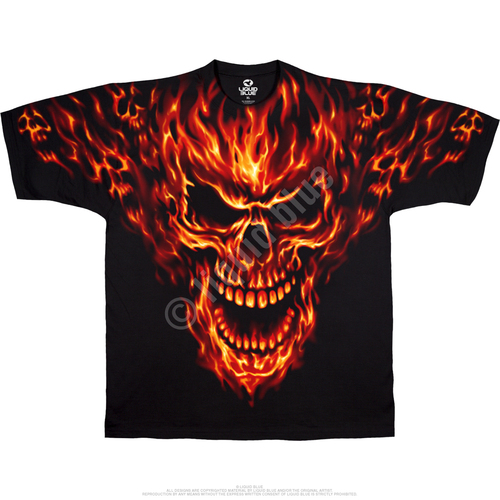 **(OFFICIAL-LIQUID-BLUE-BRAND-FANTASY-TEES,CLASSIC-RAGING-INFERNO & FLAMING-FIRE-SKULLS,NICE-CUSTOM-DETAILED-GRAPHIC-PRINTED/PREMIUM-DOUBLE-SIDED-GRAPHIC-STUNNING-TEES)**