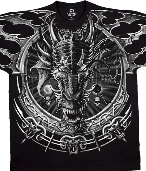 This Fantasy T-shirt features one of best designs the dragon catcher. Our Fantasy line is known to be dark, provocative, and often breathtaking. It typically highlights skulls, dragons, fire, and death. Of course this shirt is 100% heavyweight cotton, pre-washed and pre-shrunk.