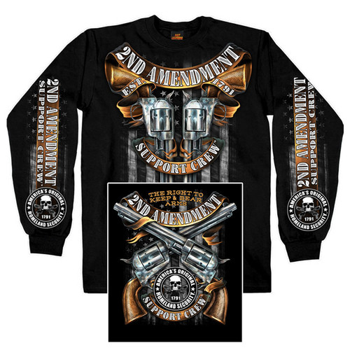 **(OFFICIAL-N.R.A. & 2ND-AMENDMENT-EST.1791/SUPPORT-CREW & THE-RIGHT-TO-BEAR-ARMS,NICE-DETAILED-CUSTOM-GRAPHIC-PRINTED/PREMIUM-LONG-SLEEVE-DOUBLE-SIDED-PRINTED-GUN-SUPPORTING-TEES)**