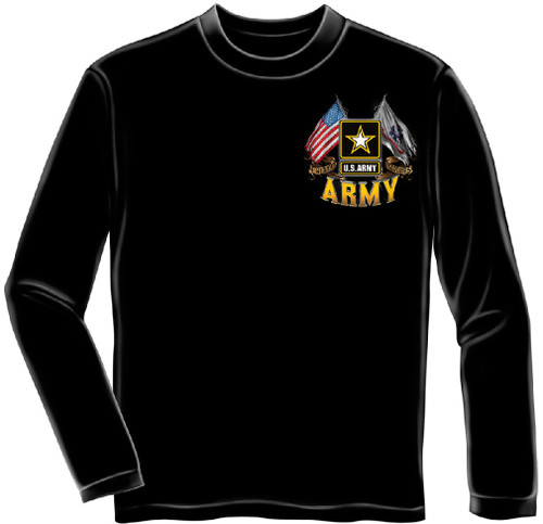 """**(NEW-OFFICIALLY-LICENSED-U.S. ARMY-VETERAN/""""OFFICIAL-ARMY-STAR,DOUBLE-FLYING-FLAGS & THIS-WE'LL-DEFEND"""",NICE-DETAILED-CUSTOM-GRAPHIC-PRINTED/PREMIUM-DOUBLE-SIDED-LONG-SLEEVE-TEES:)**"""